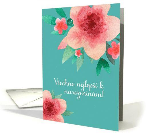 Happy birthday in czech bright flowers watercolor card foreign happy birthday in czech bright flowers watercolor card m4hsunfo
