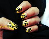 Photo of Yellow coded nails  Nail Art Gallery by NAILS Magazine