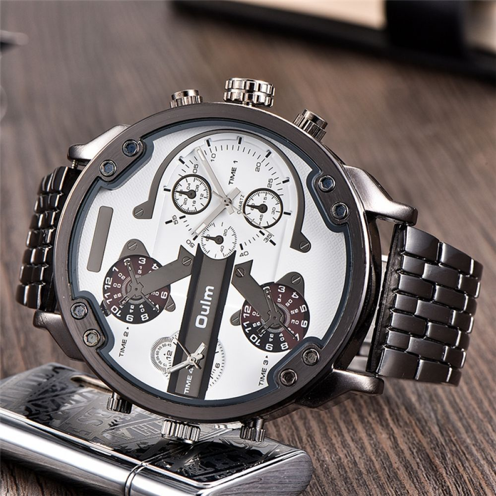Two Time Zone Men's Watches Top Luxury Brand Male Quartz Big