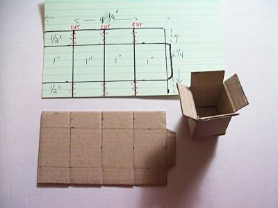 Miniature cardboard boxes. These would be fun to store out-of-season decorations in up in the attic. #dollhouseminiaturetutorials