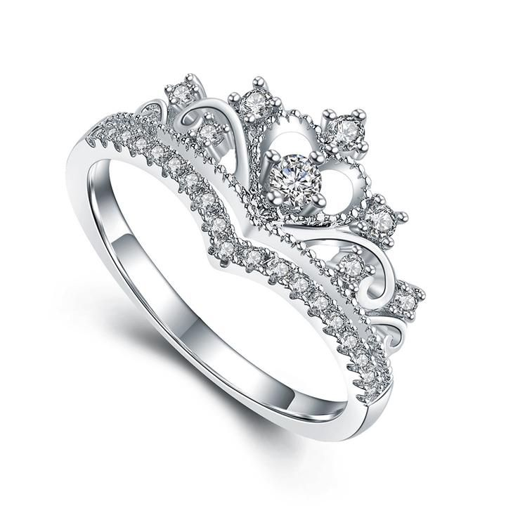 Adrianna Cute Crystal Princess Crown Promise Fashion Ring in Silver - Unique diamond engagement rings, Diamond cluster engagement ring, Engagement rings sapphire, Fashion rings, Large hoop earrings, Crown ring princess - DESCRIPTION & DETAILS Unique and beautiful,  this ring features ultra shine cubic zirconia crystals arranged in a princess crown design   Ring Silver Alloy Ultra Shine Cubic Zirconia Crystals Ring Size 5 5  9