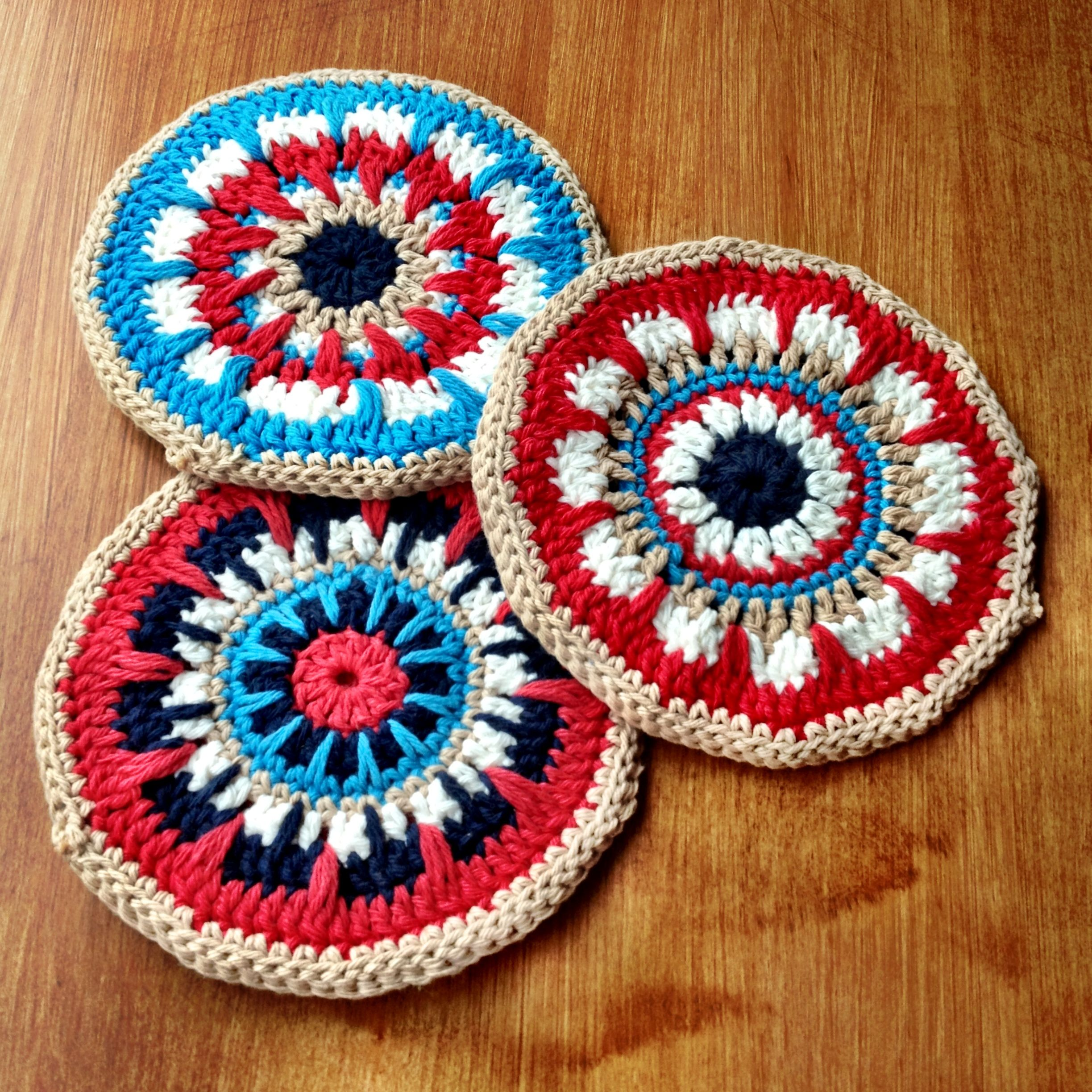 Crochet potholders w native american colors hooked on crochet crochet potholders w native american colors bankloansurffo Images