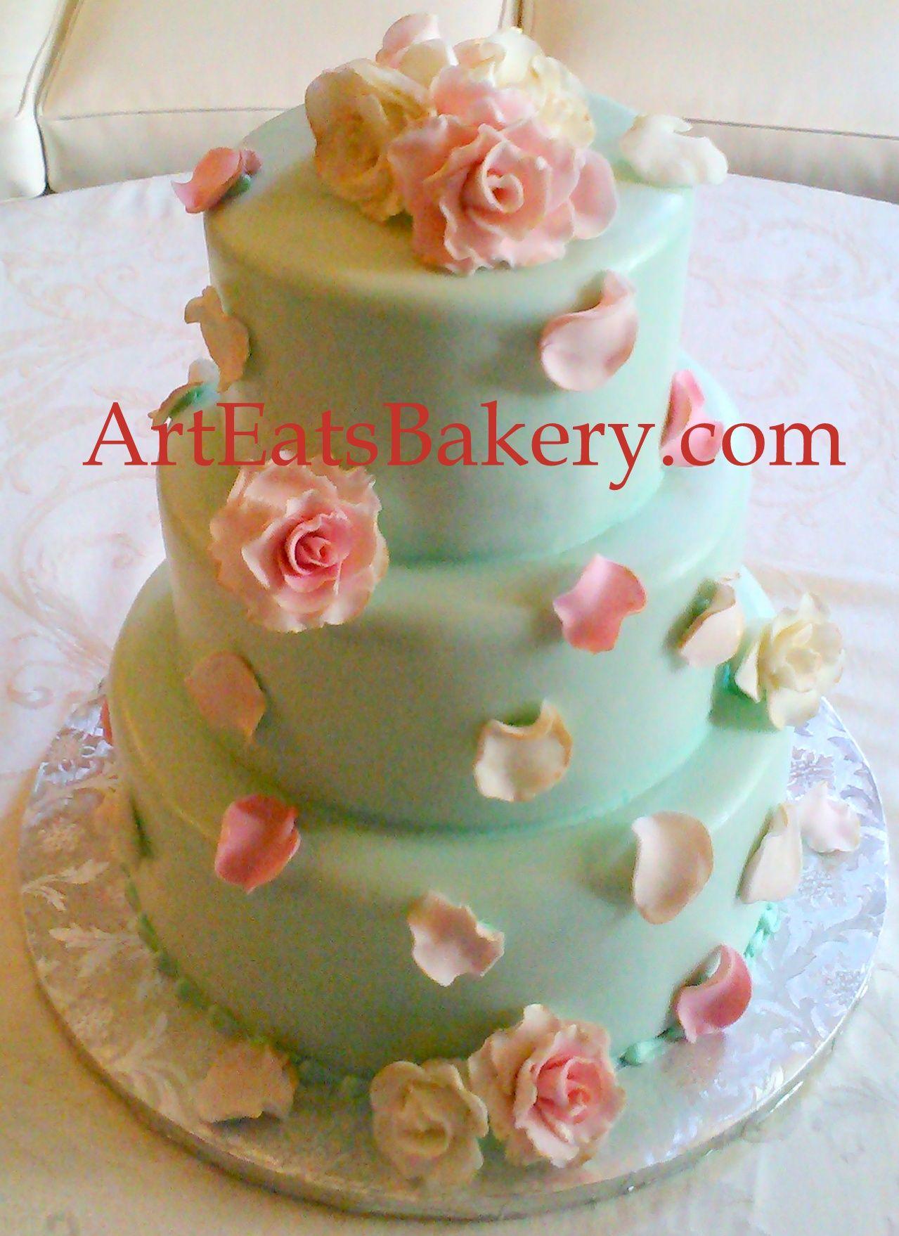 Amazing Art Eats Bakery 1626 East North Street, Greenville, SC 29607Three Tier Mint  Green Fondant Elegant Romantic Custom Unique Wedding Cake Design With  Edible ...