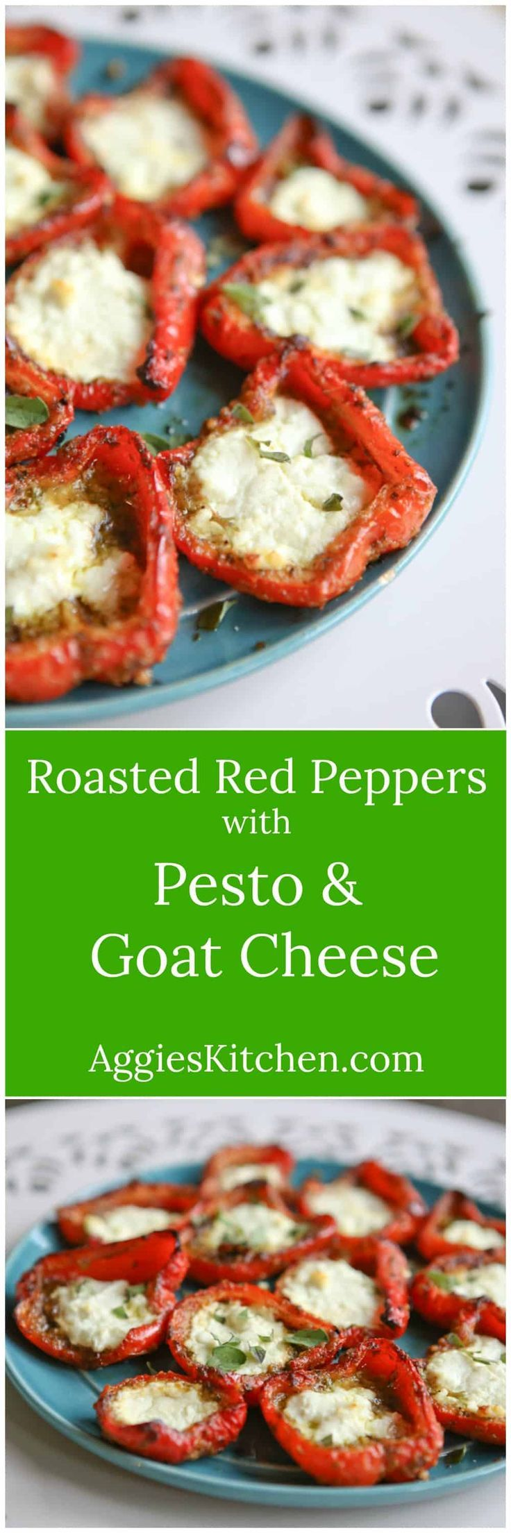Roasted Red Peppers with Pesto and Goat Cheese – Cindy Blorstad Roasted Red Peppers with Pesto and Goat Cheese - Cindy Blorstad -