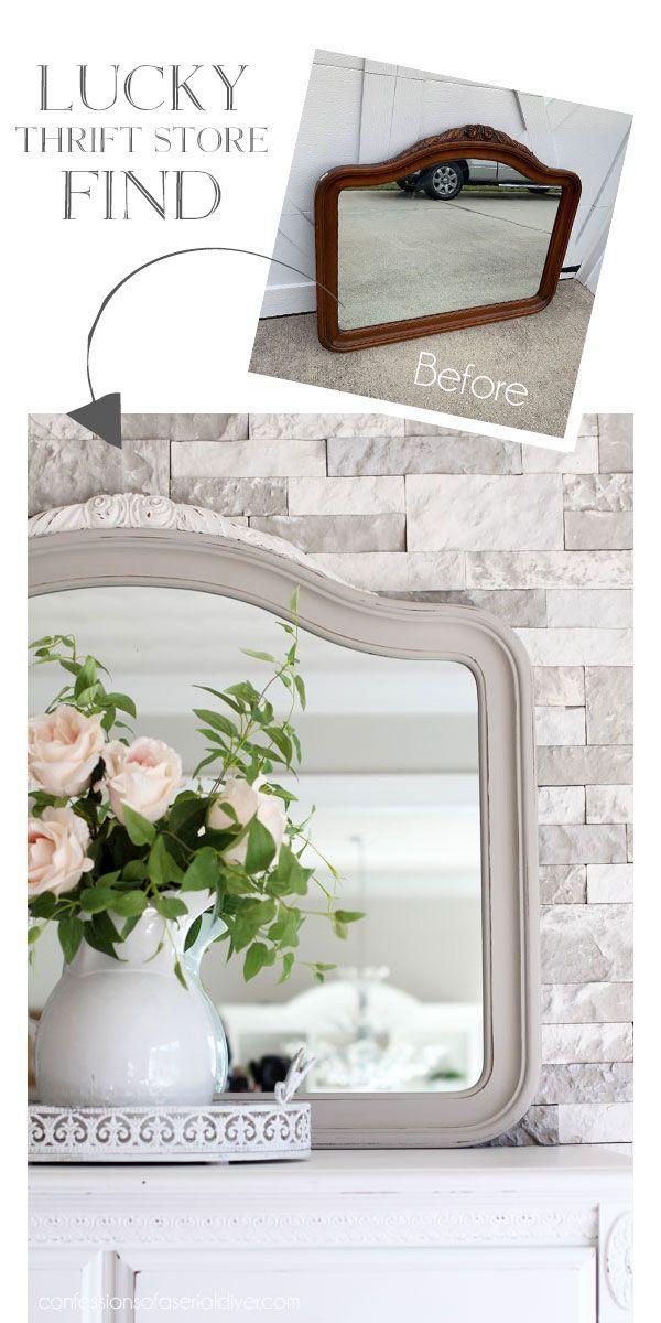 Hübscher Gebrauchtwarenladen Mirror Makeover -  - #HomeDecorTips #thriftstoreupcycle