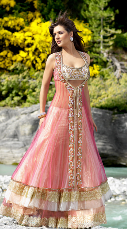 Pretty Pink Lehenga W Sheer Jacket From Seasons