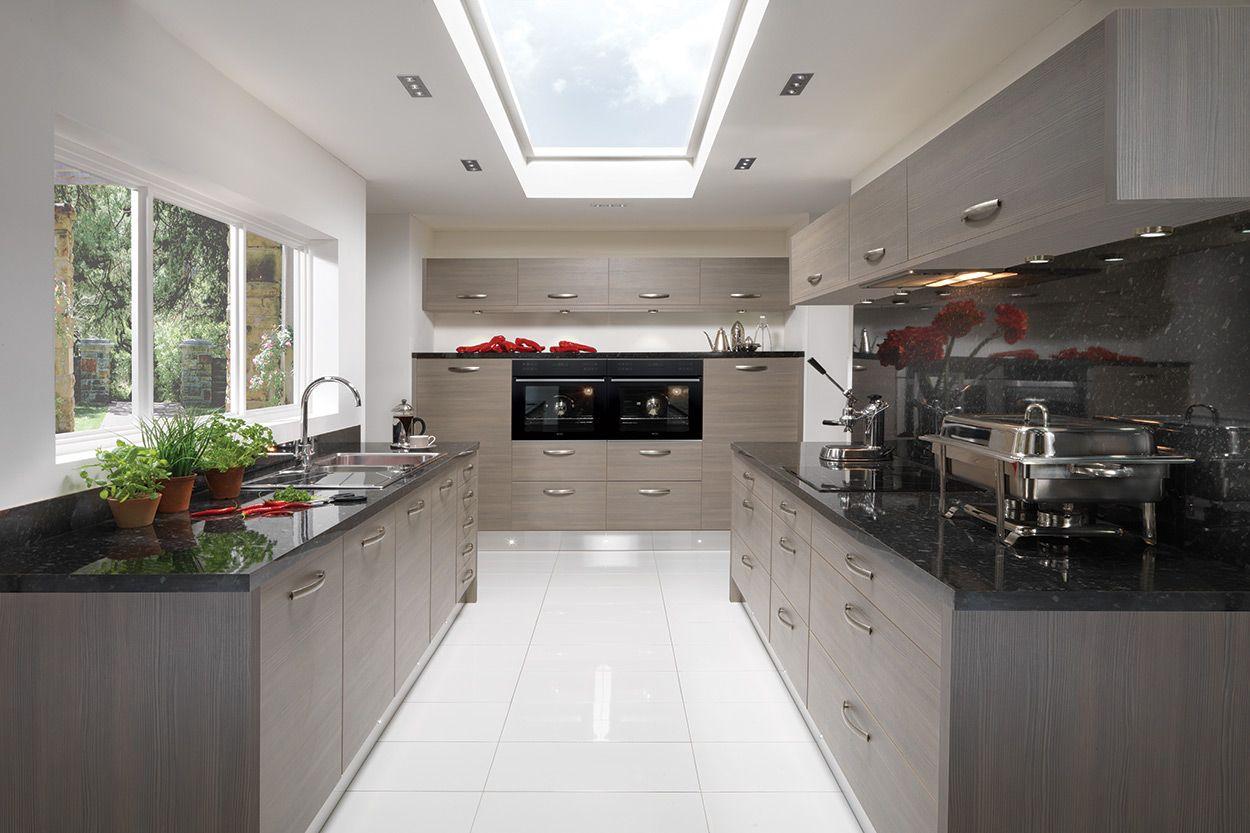 Far End Wall Units Up Top Gloss Black  Modern Kitchen Design Interesting Latest Kitchen Designs Uk Review