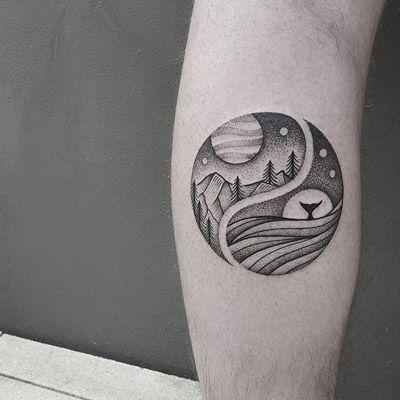 Night Scene Woods Circular Tattoo Tattoos Pinterest Tattoos