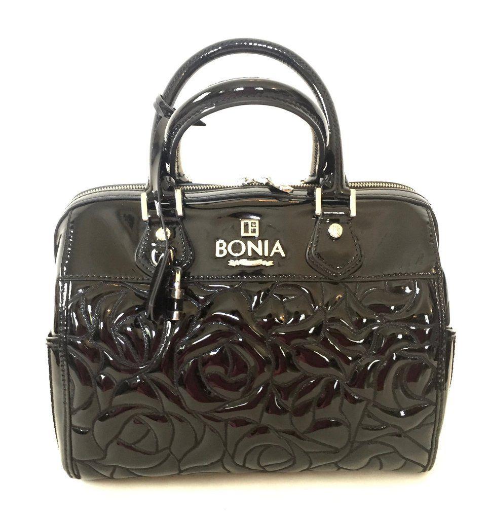 Bonia Black Patent Leather Tote Bag