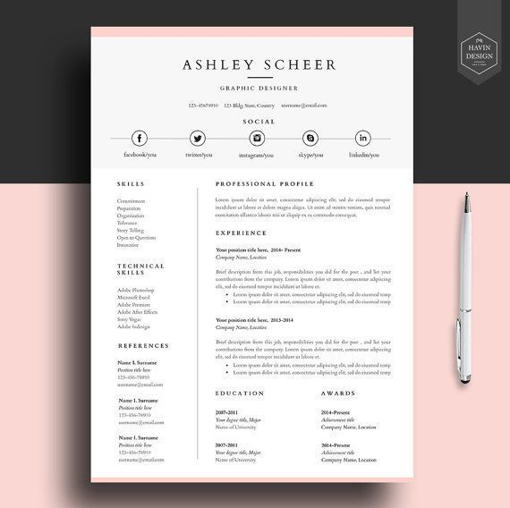 professional resume template  resume template for word  cv template with free cover letter  cv