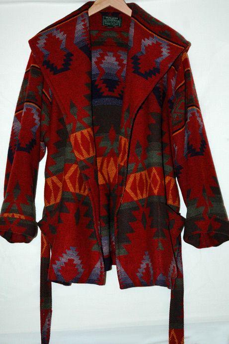 Vtg Ralph Lauren Navajo Southwest Indian Wool Blanket Coat