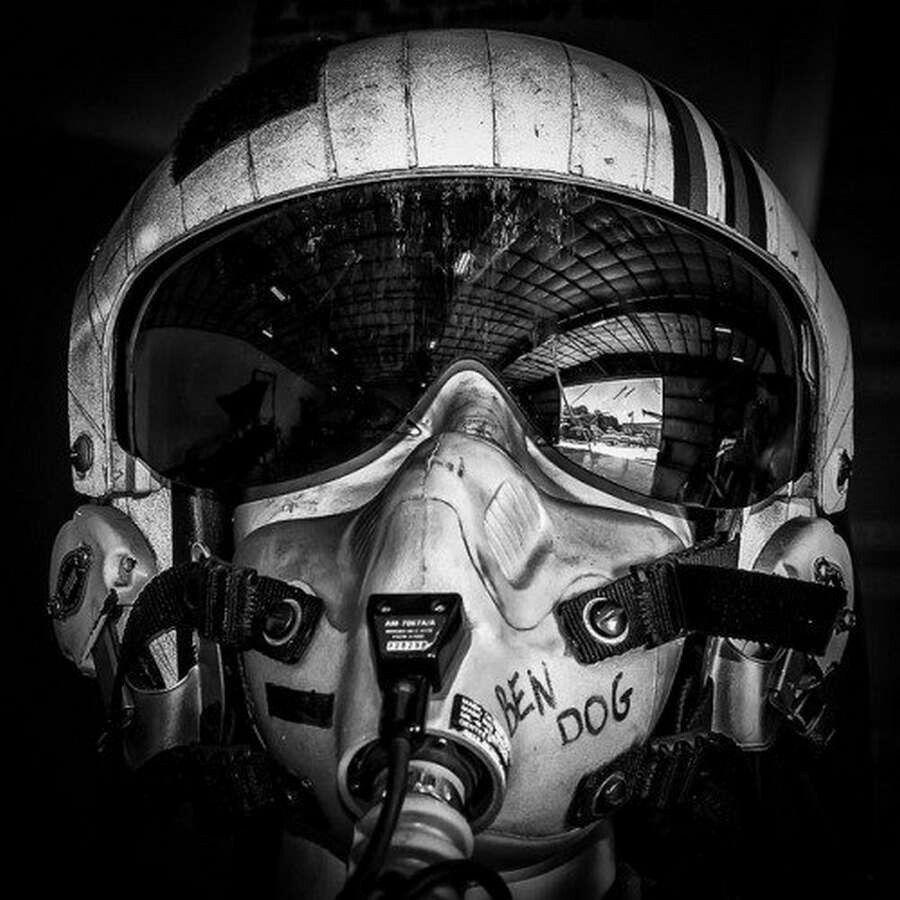 Fighter Pilot Helmet Black And White Perang Seni Tengkorak Penerbangan