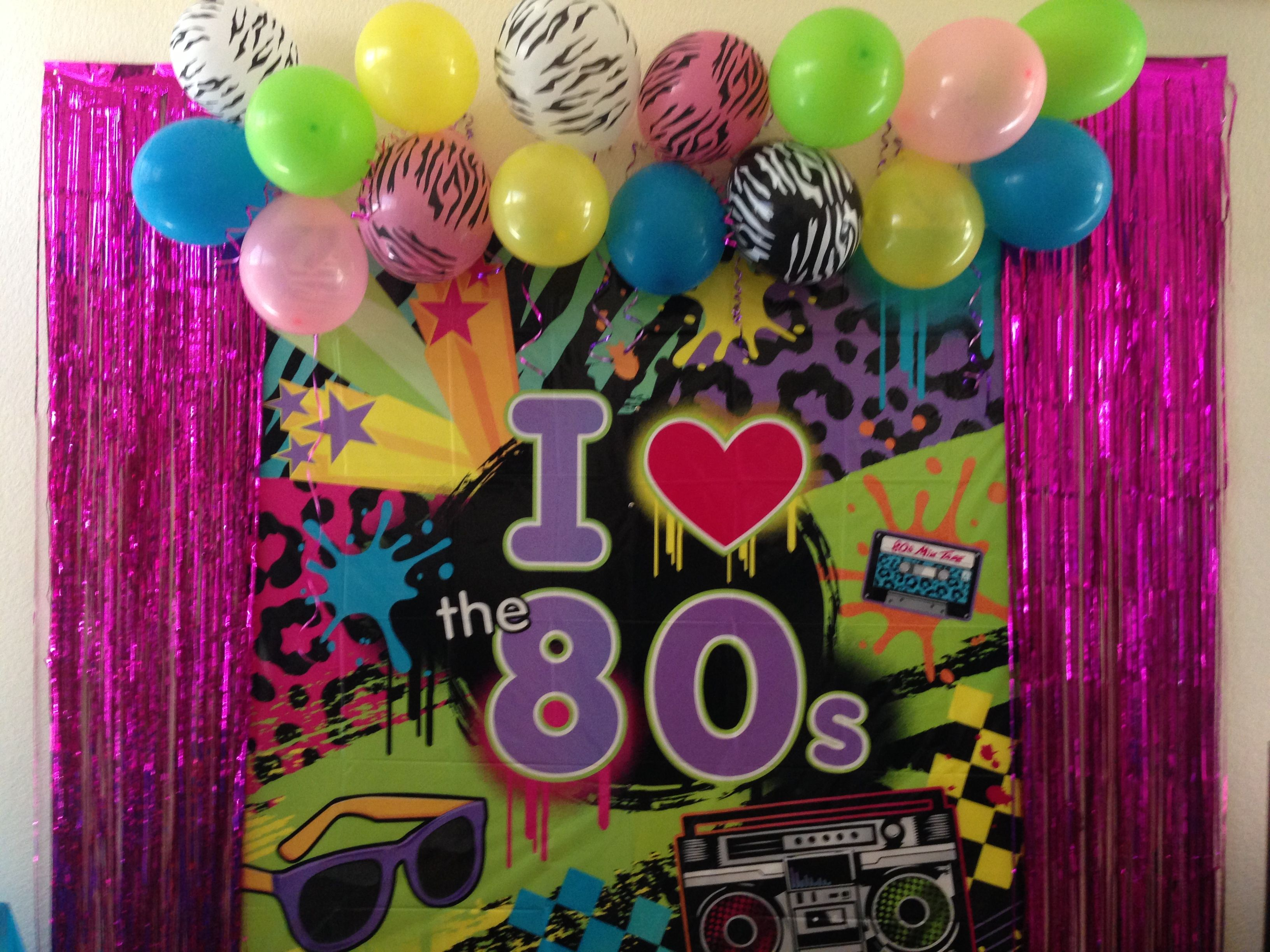 My 80 39 s party decorations photo booth wall 80 39 s party for 80 birthday decoration ideas