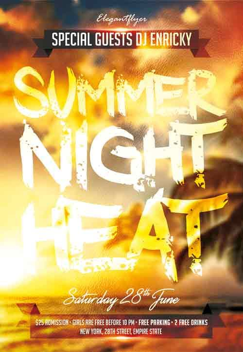 Summer Night Heat Free PSD Flyer Template - http\/\/freepsdflyer - summer flyer template