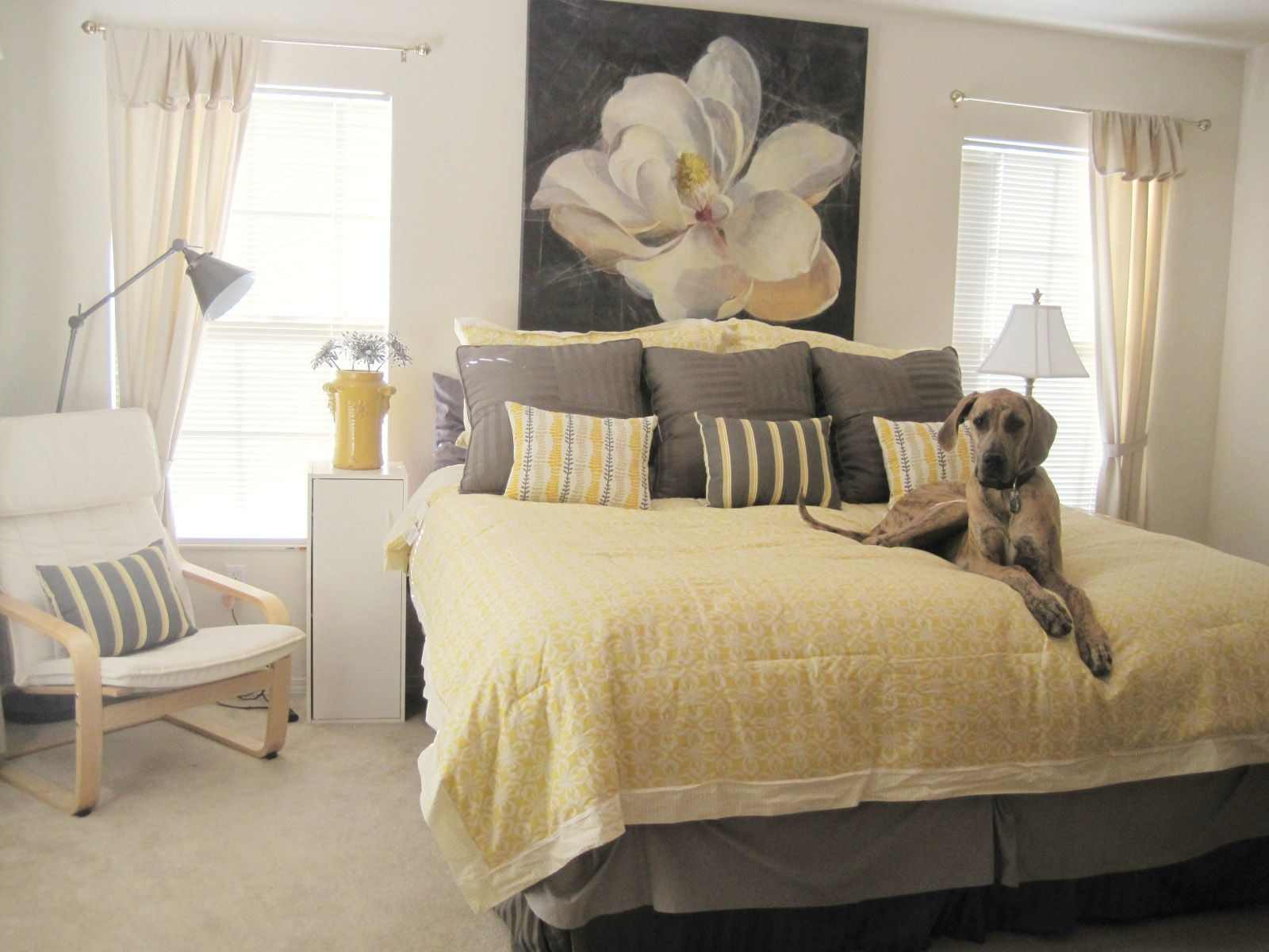 Peaceful Yellow and Gray Master Bedroom Decorating Ideas, Romantic
