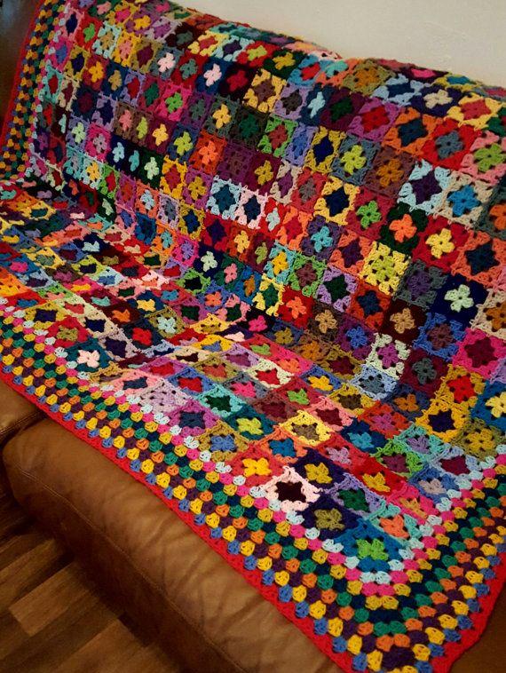 Mini abuela cuadrados manta afgana de 70 x 60 320   Ganchillo ...