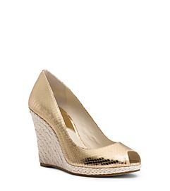 Keegan Metallic Embossed-Leather Wedge