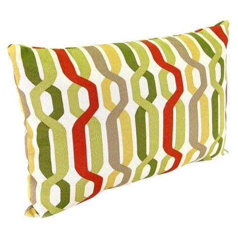 Outdoor Lumbar Toss Pillow Red Green