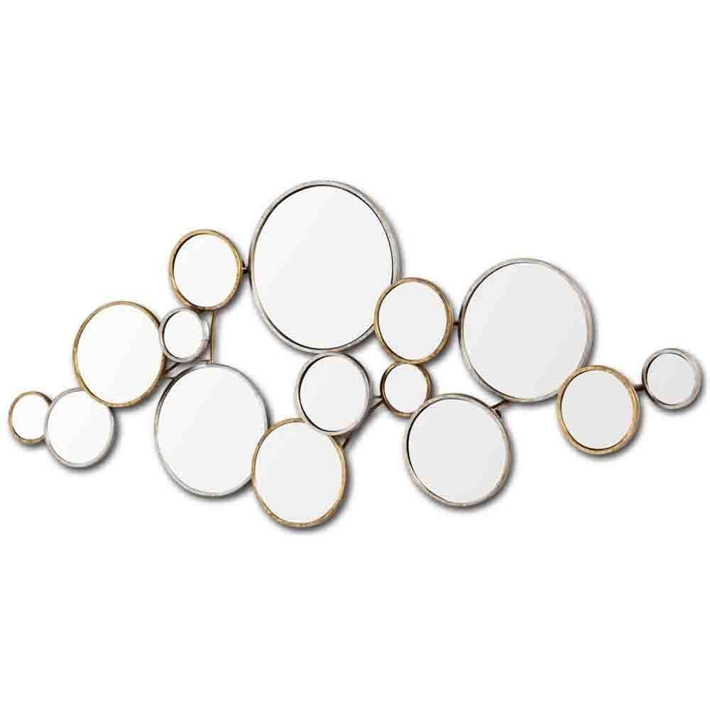 Halenday Mirror Made Up Of 15 Interlocking Circles The Halenday Is Made Of Silver And Bronze Framed Mirror Wall Starburst Mirror Wall Silver Leaf Wall Mirror