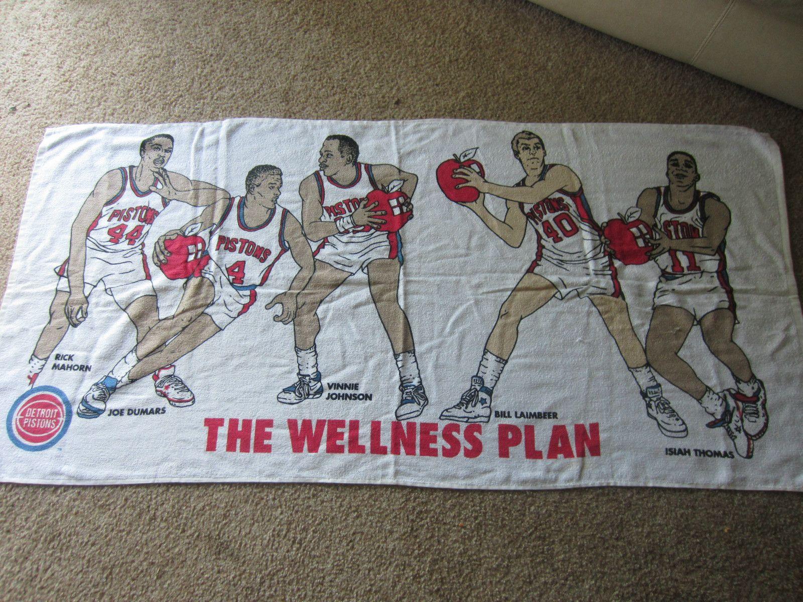 Detroit Pistons Vintage Beach Towel Isiah Thomas Joe Dumars Rick Mahorn Sga Ebay Isiah Thomas Detroit Pistons Bad Boys Vintage Textiles