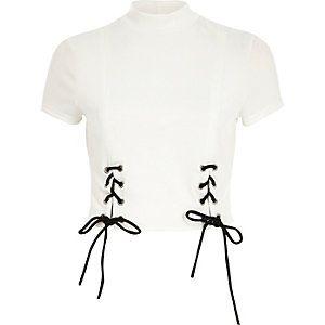 63cad836381 Cream tie up turtleneck crop top White Short Sleeve Tops, Cropped White  Shirt, Cream