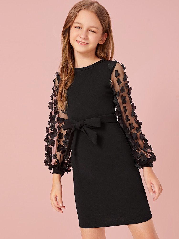 Girls mesh appliques sleeve belted dress shein dresses