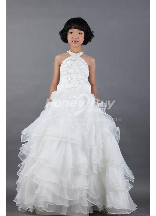 halter organza ivory little girls bridesmaid dresses bridesmaid ...