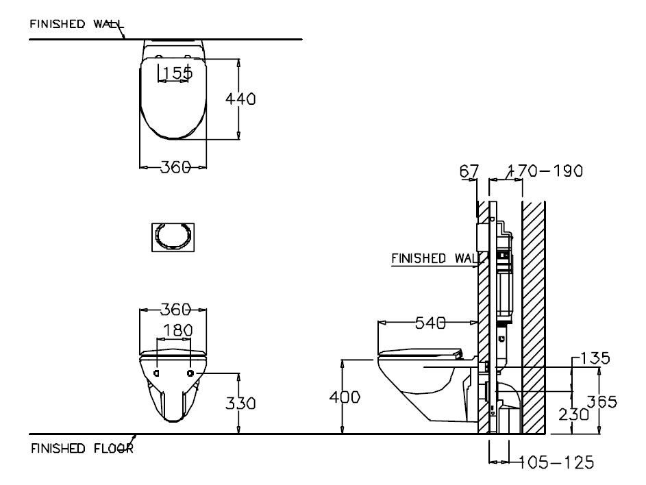 image result for built in wall hung toilet concealed