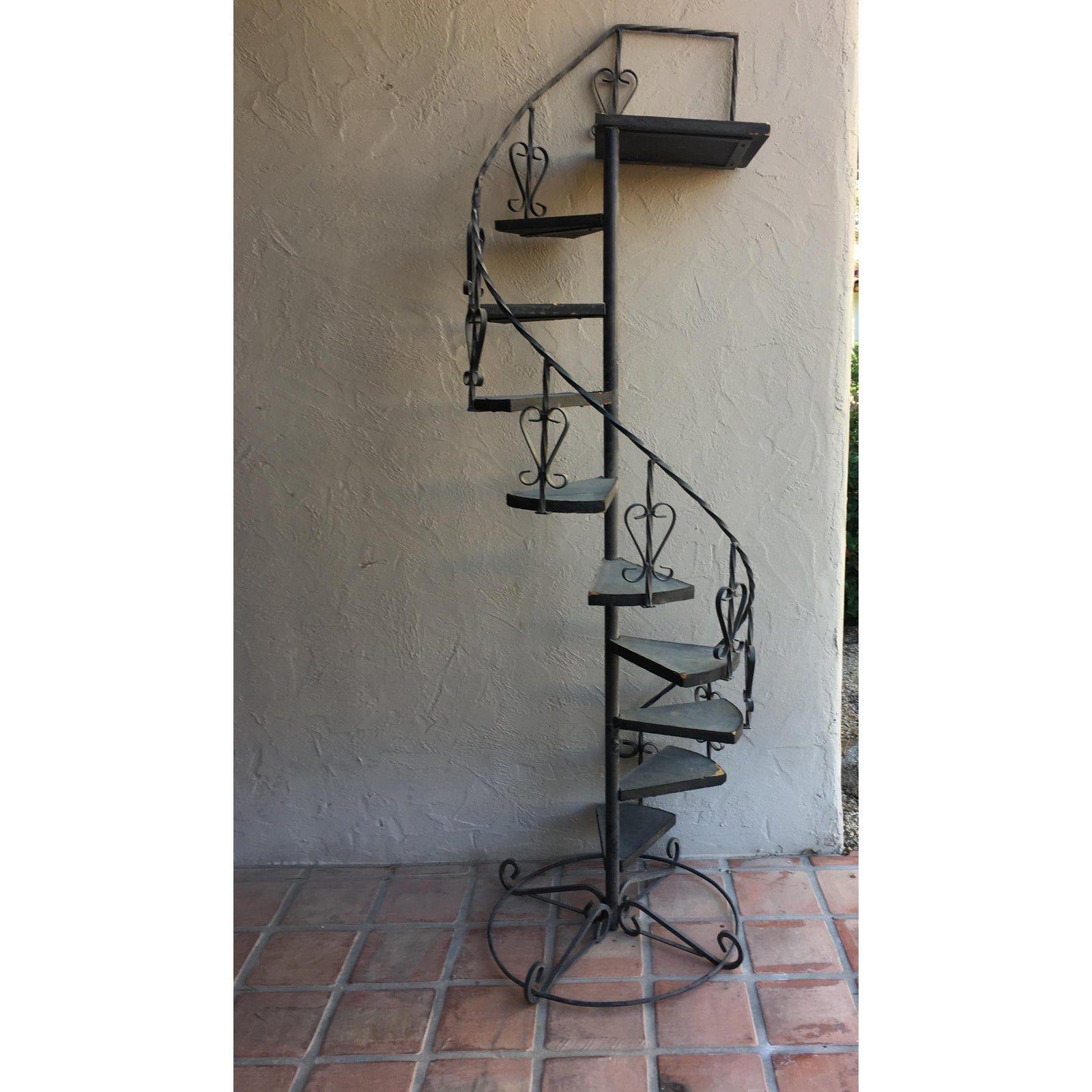 Best Vintage Wrought Iron Spiral Staircase Plant Stand Garden 640 x 480