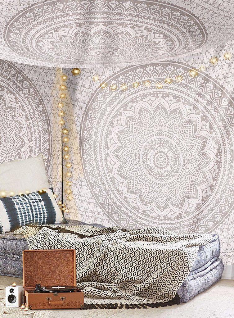 Cute Gray Ombre Mandala Tapestry Wall Hanging Cheap Hippie Tapestries Mandala Tapestries Wall Hangings Grey Tapestry Dorm Tapestry