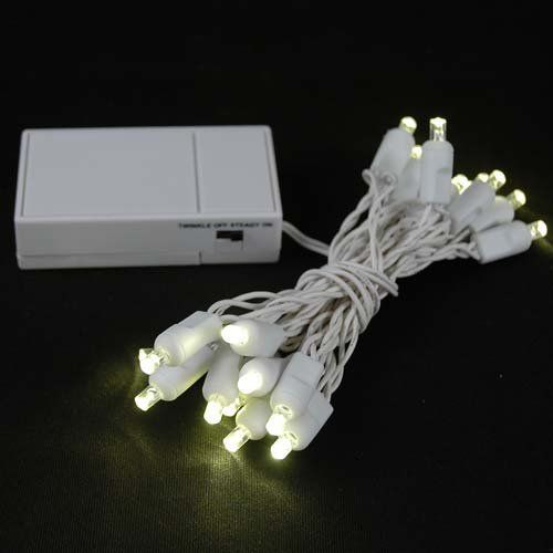 Novelty lights inc bat20 wa w ww battery operated led wide angle 20 led warm white battery operated christmas lights on white wire for indoor and outdoor holiday decorating 20 light set on white wire aloadofball Gallery