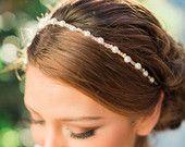 Elizabeth Pearl and Crystal Headband, Gold Bridal Hair Accessories, Bridal Hairpiece, Handmade Wedding Bridal Hair Headband
