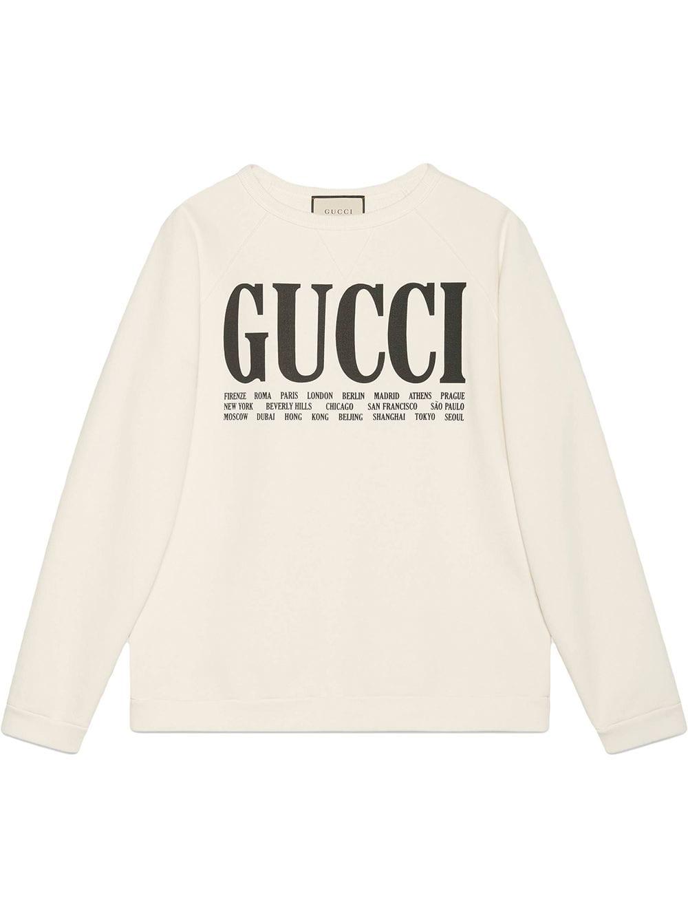 Gucci Gucci Cities Cotton Sweatshirt Farfetch Cotton Sweatshirts Sweatshirts Gucci [ 1334 x 1000 Pixel ]