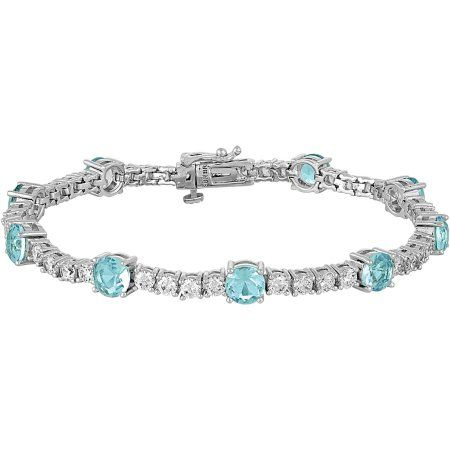 Gemspirations Sterling Silver Plated Simulated Blue Topaz