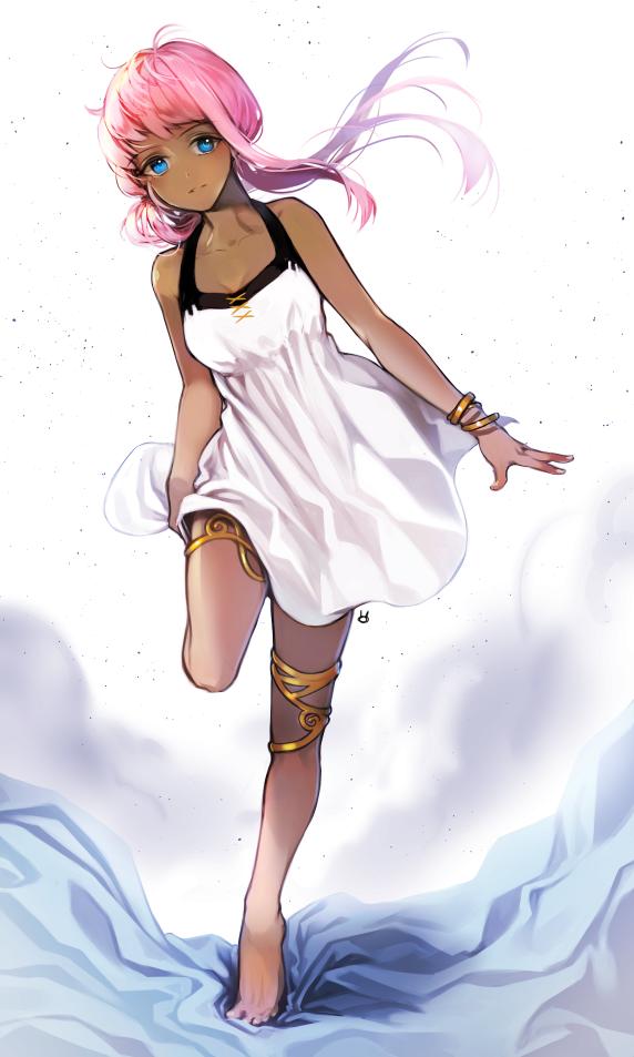 1girl Bare Shoulders Barefoot Blue Eyes Bracelet Chico907 Dark Skin Dress Jewelry Long Hair Looking Black Anime Characters Girl With Pink Hair Pink Hair Anime