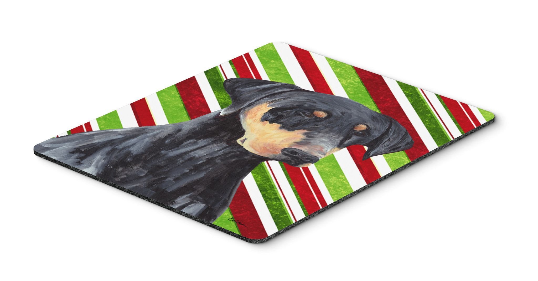 Doberman Candy Cane Holiday Christmas Mouse Pad, Hot Pad or Trivet ...