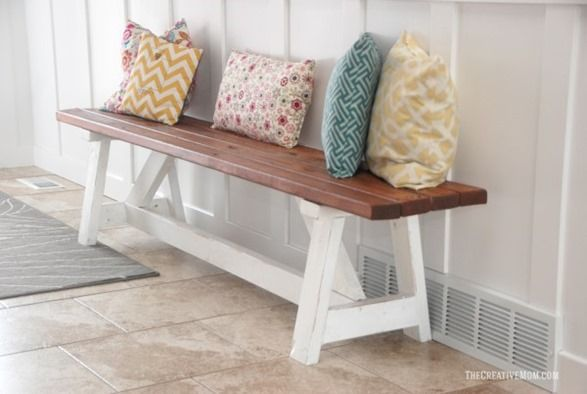 This farmhouse bench was made for less than $20 using 2x4s!