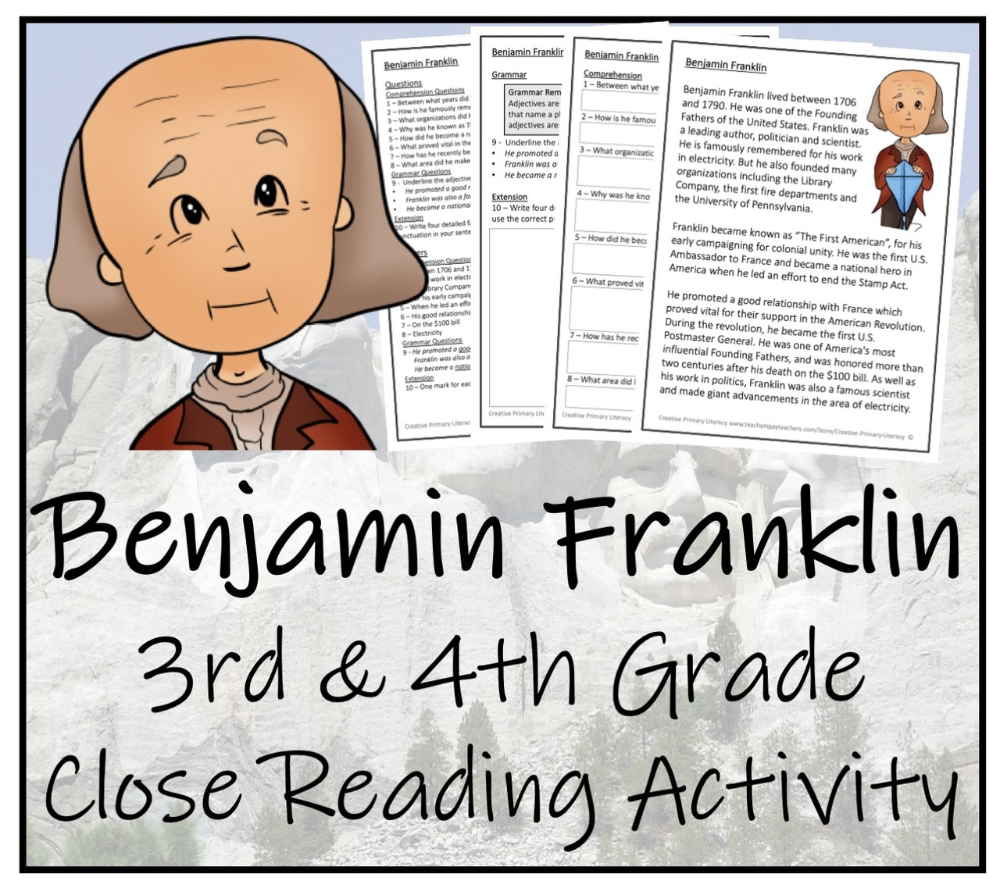 Benjamin Franklin 3rd 4th Grade Close Reading Activity Close Reading Activities Close Reading Reading Activities [ 888 x 1000 Pixel ]