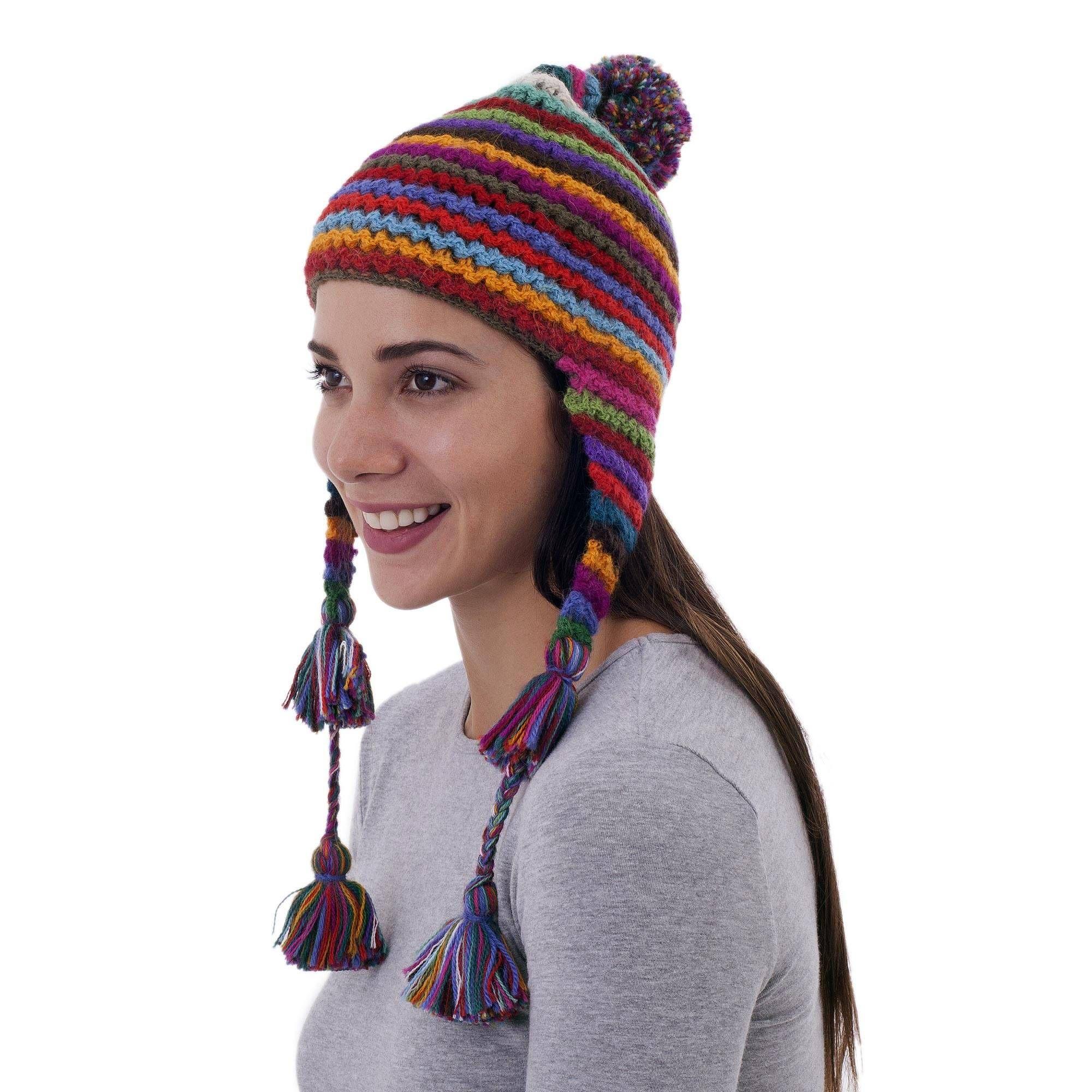 74ead654f8e Striped Multicolored Alpaca Chullo Hat with Pompom from Peru ...