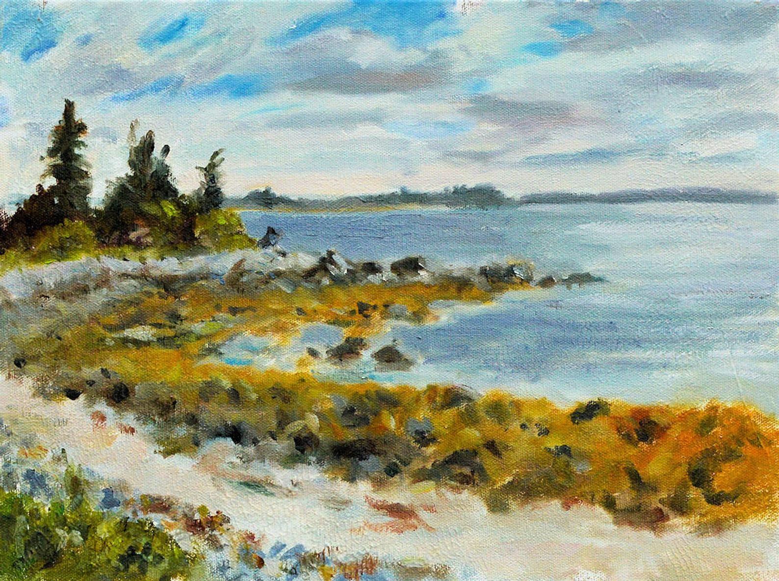 Rocky Cove Nova Scotia Canada Ocean Landscape Beach 12 X Etsy Watercolor Landscape Paintings Ocean Landscape Landscape Paintings