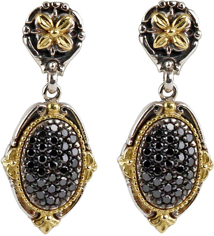 Konstantino Asteri Pave Black Diamond Round Double-Drop Earrings