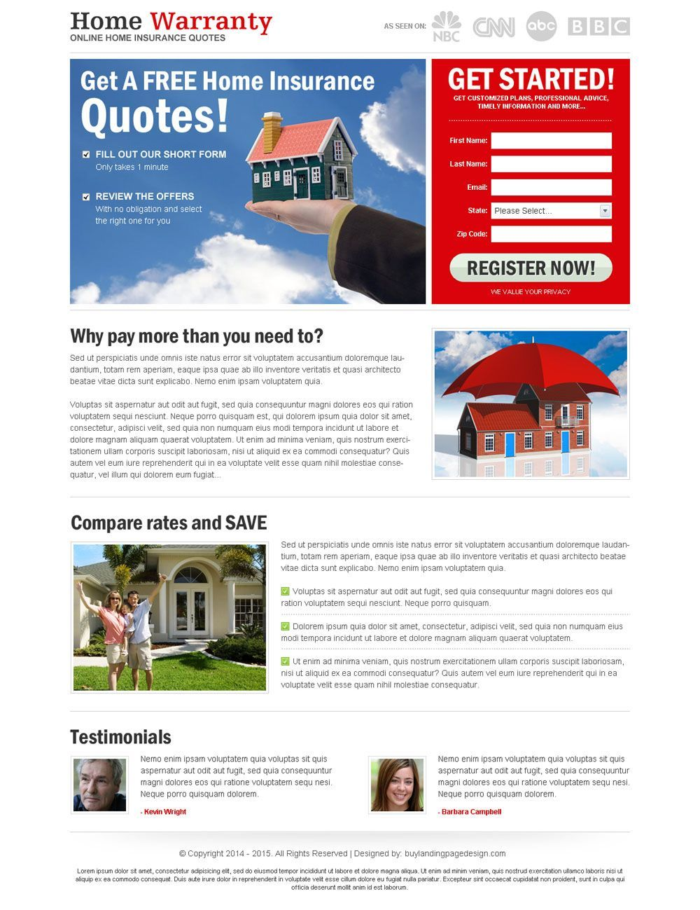 Home Insurance Quote Brilliant Free Home Insurance Quote Lead Capture Most Converting Landing Page