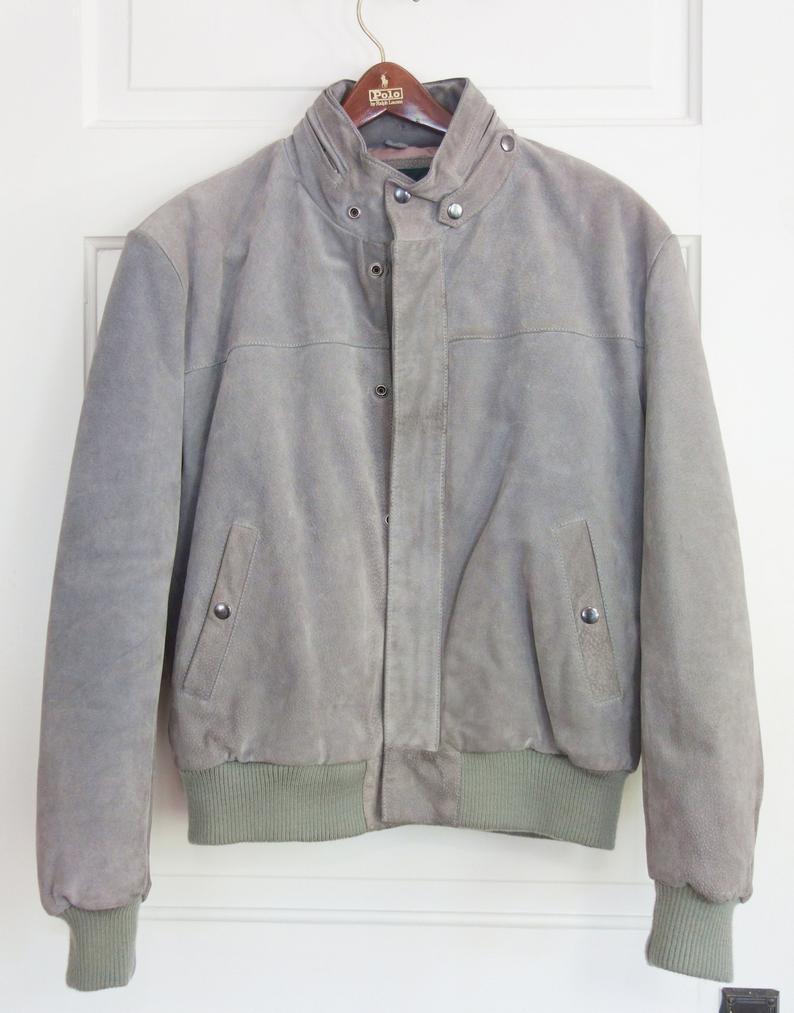 80s Retro Suede Leather Bomber Jacket Vintage Gray Men Women