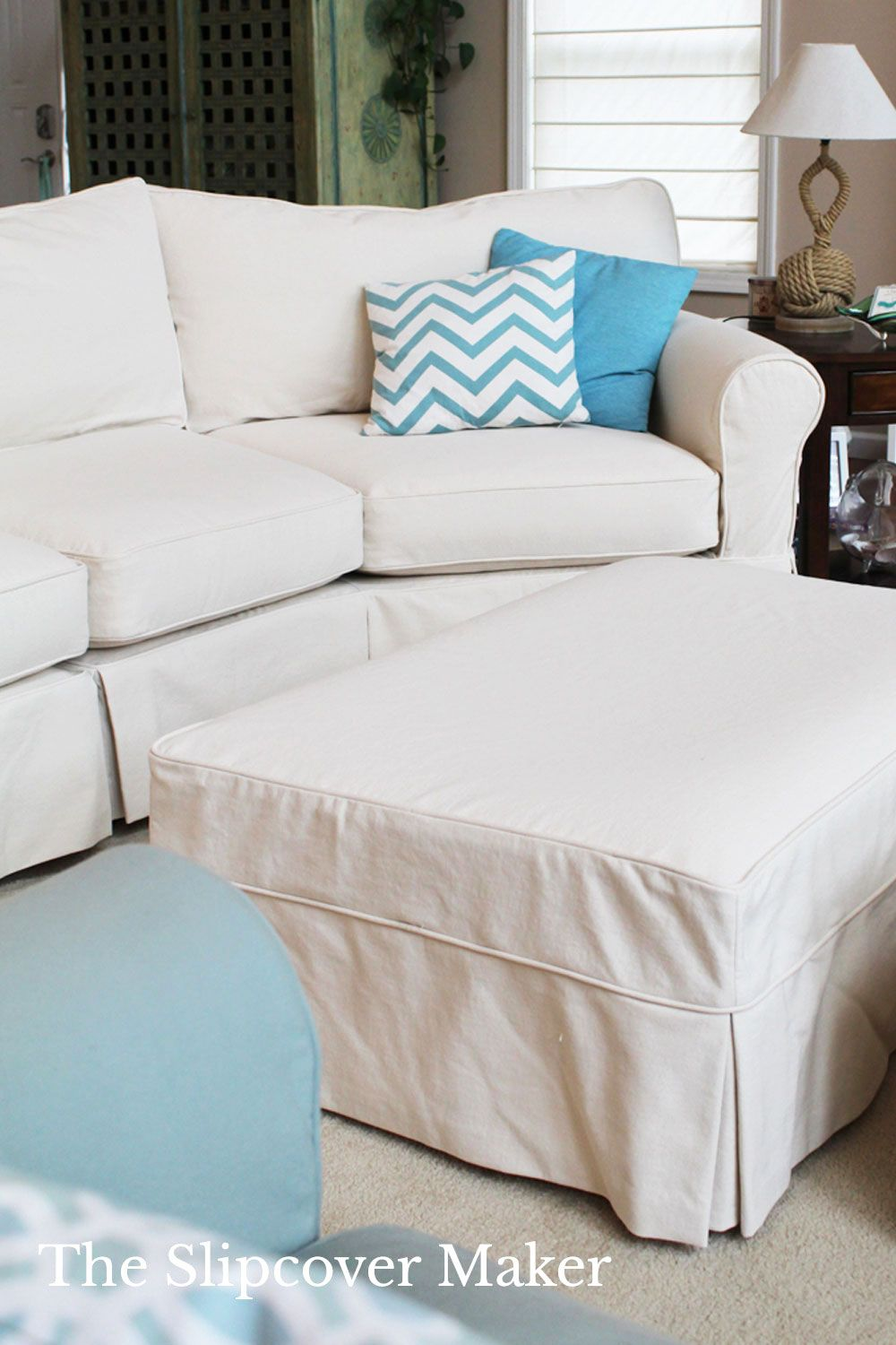 10 Simple Ottoman Slipcover Ideas For Diy Decorators In 2020 Ottoman Slipcover Slipcovers Ottoman Design