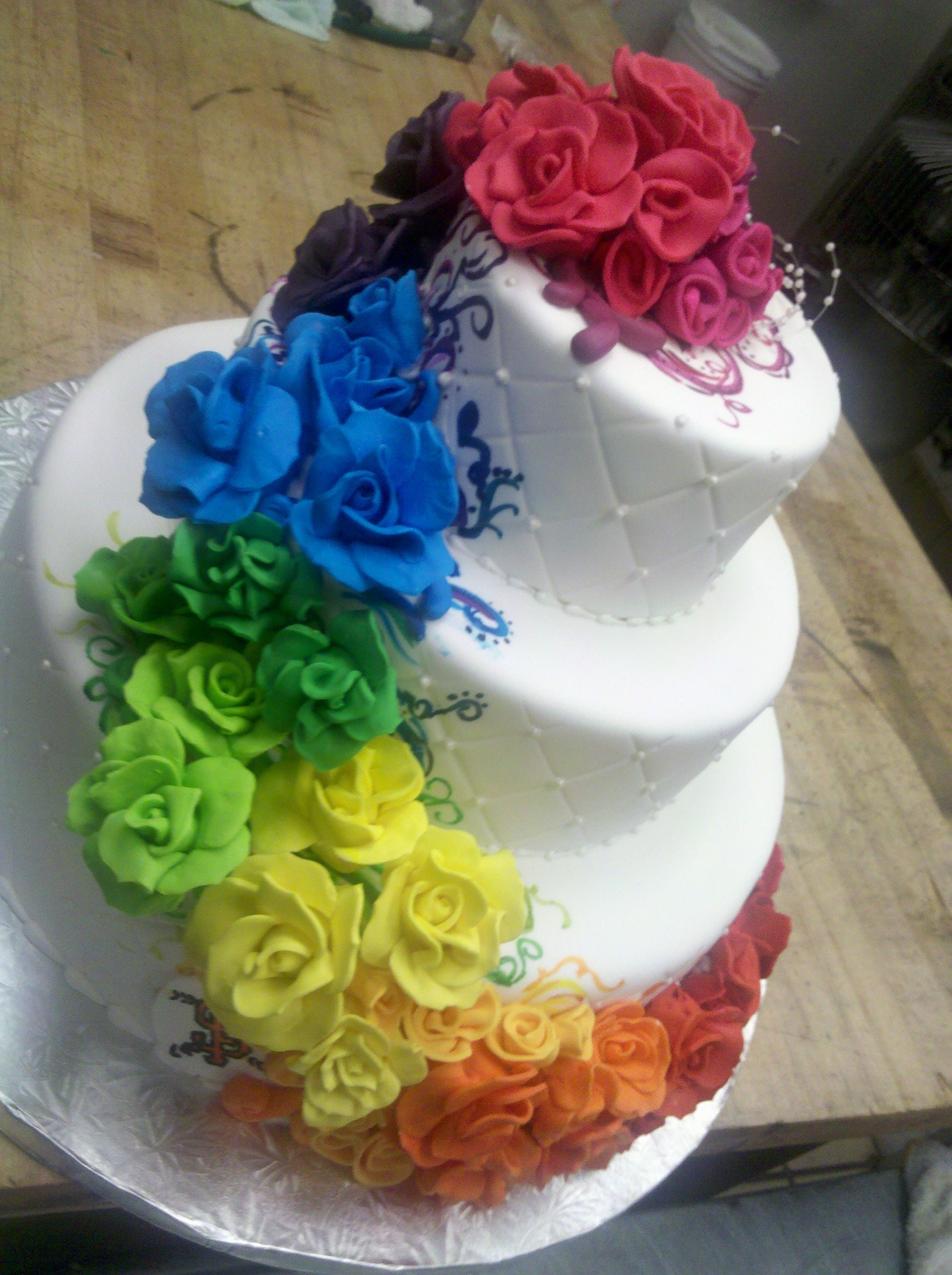 colors of the rainbow wedding theme Merci Beaucoup Cakes