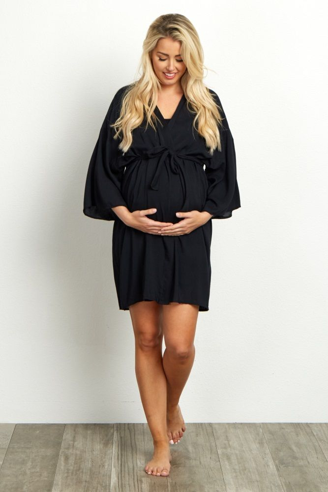 Black Solid Delivery/Nursing Robe | Robe, Maternity robe and Pregnancy