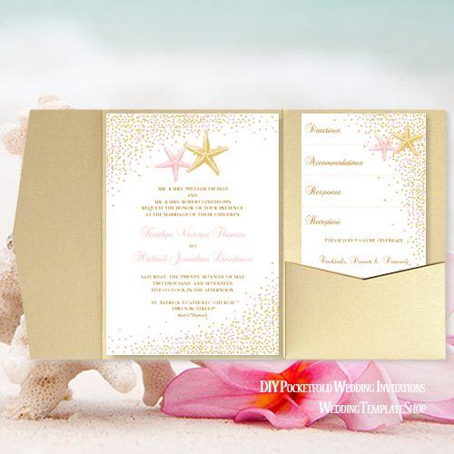 Pocket Fold Wedding Invitations Beach Confetti Starfish Blush Pink