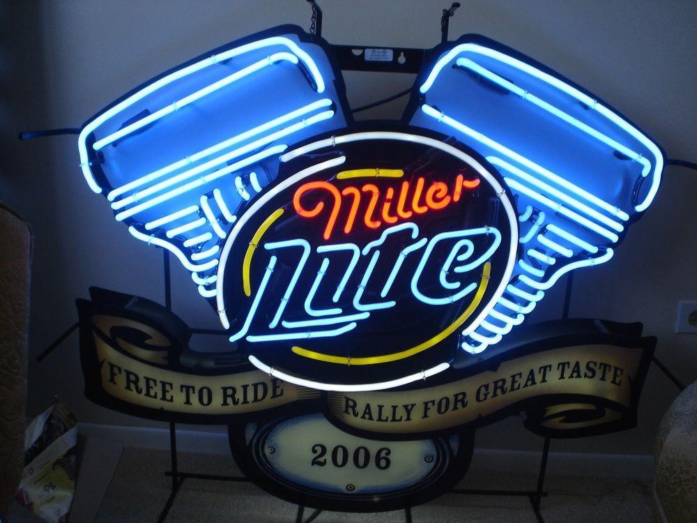 Huge Rare Miller Lite Beer Harley Davidson Motorcycles Motor Engine