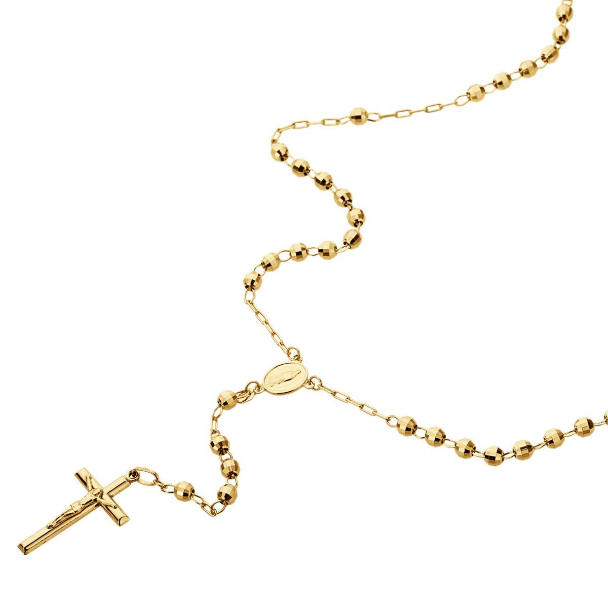 14k Gold Tricolor Yellow Or White Gold Chain 3mm Dc Bead Rosary Chain Necklace 16 18 20 24 Inches 20 Rosary Chain Necklace White Gold Chains Real Gold Necklace