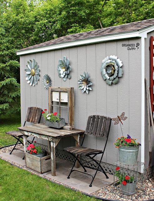 My New Junk Garden Shed Outdoor Garden Decor Shed Landscaping Shed Decor